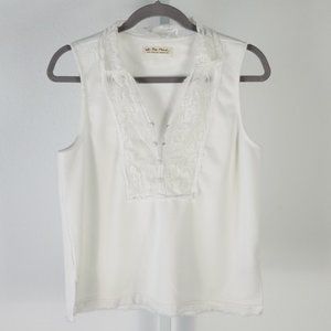 WE THE FREE sleeveless top with lace white Sz S